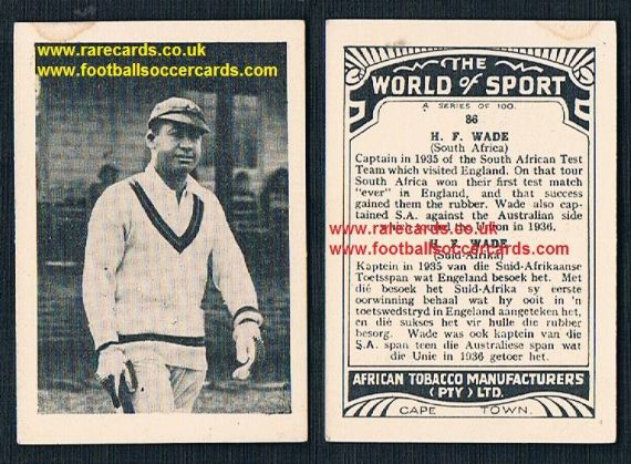 1930's South African Tobacco World of Sport cricket 86 Herby Wade Captain South Africa
